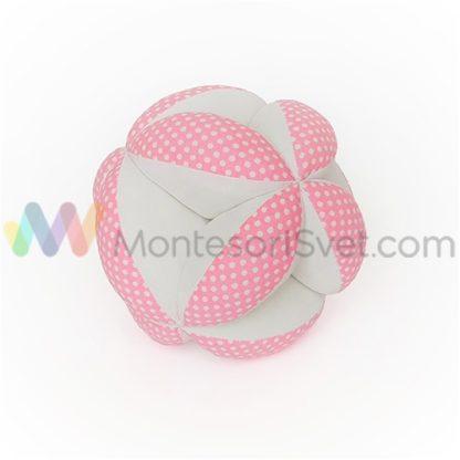 montesori-lopta-rozo-bela-sa-belim-tufnama